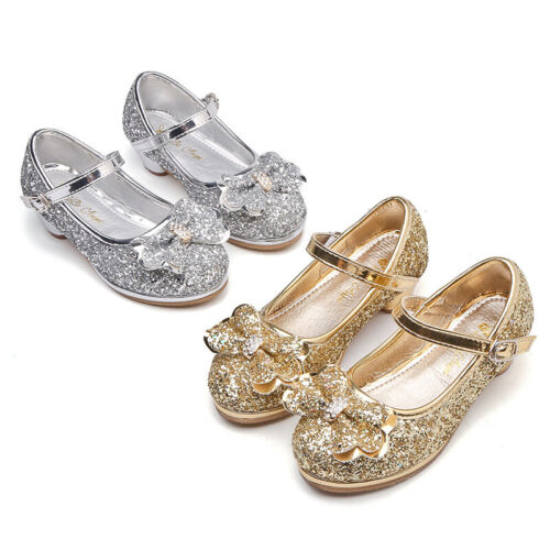 Kids Girls Mary Janes Party Shoes Sequin Glitter Bridesmaids Wedding Heels Pumps