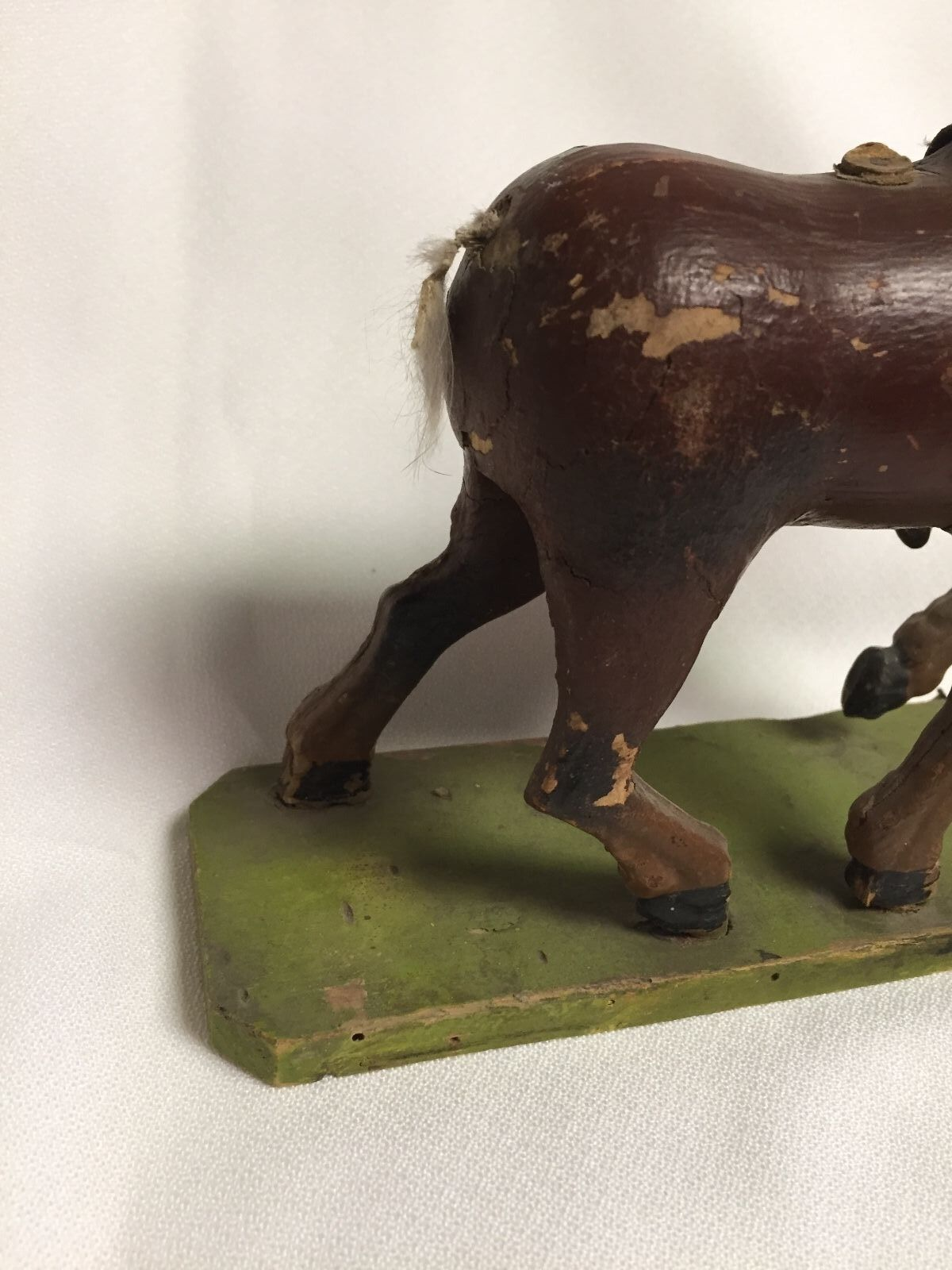 Vintage Brown Wood Horse Pull Toy with Green Green Green BaseGermany 376dda