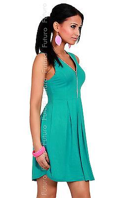 Women's Lovely Holiday Dress with Zipper Party Jersey V-Neck Size 8-12 8424