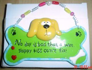 Shabby-Chic-Dog-Plaque-SLOPPY-KISS-Cute