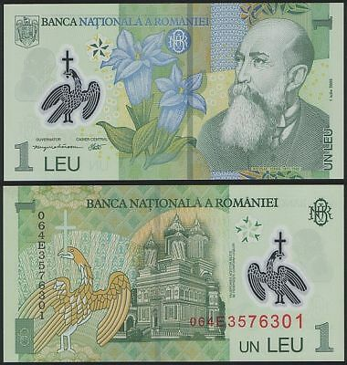 2012-2014 Romania 1 Leu Polymer P-117 Lot 10 PCS 2005 UNC