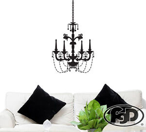 Wall decal sticker chandelier in white or black 36x21 ebay image is loading wall decal sticker chandelier in white or black mozeypictures Gallery