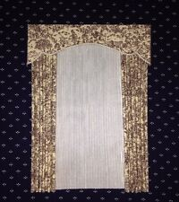 "3 /"" W x 1 1//4 /"" L Tiny Black and Tan Flowers Valance Dollhouse Curtains"