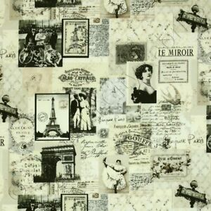 Timeless-Treasures-Paris-Chic-April-in-Paris-News-Fabric-Noir-C9149-Cream-BTY