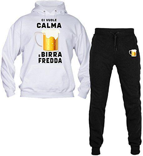 Con Tuta Birra Polsino E Cappuccio Pantalone Calma Vuole Ci Felpa Fredda Uomo qqIRF