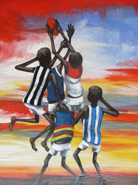 AFL OUTBACK GRAND FINAL PAINTING ART PRINT AUSSIE RULES coa TICKETS ABORIGINAL
