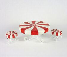 Dollhouse Miniature Holiday Candy Cane Table & Stools Set, 16691