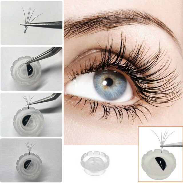 100pcs Eyelash Glue Holder Grafting Eyelash Extension Blossom Adhesive Cup Rings