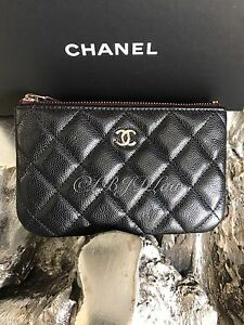 e174266d0769 NWT CHANEL BLACK CAVIAR GOLD BEAUTY CC ZIP O-Case Mini Cosmetics ...