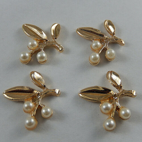 12 pcs Faux Pearls Decor Gold Alloy Leaf Craft Charm Pendant Findings 22x20x4mm