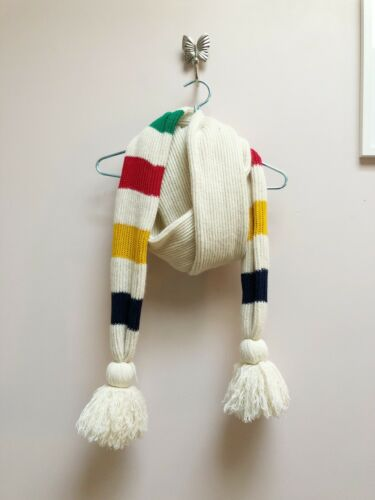 Hudson Bay Scarf HBC Blanket Fringe Lambs Wool Pom