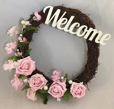 Rosa Porta Ramoscello Corona fiori rose perle Decorazioni da parete Segno Di Benvenuto Cuore