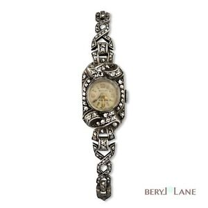 Vintage-c1940-50-039-s-STERLING-SILVER-Bentley-MARCASITE-Cocktail-WristWATCH-working