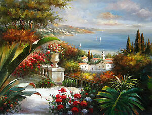 Dream-art-Oil-painting-Beautiful-Mediterranean-sea-landscape-with-flowers-canvas