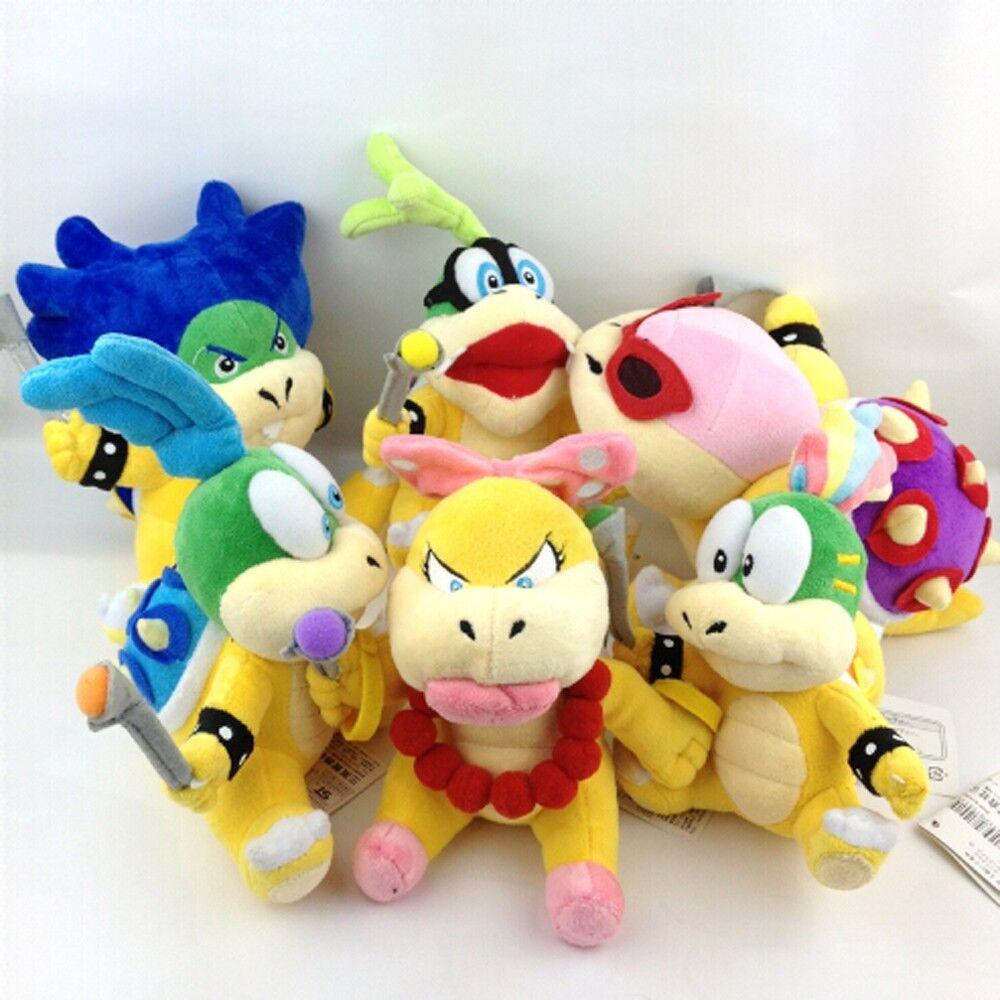 6X 6X 6X Super Mario Koopalings Larry Iggy Lemmy Roy Ludwig Wendy Koopa Soft Plush Toy 65f54c