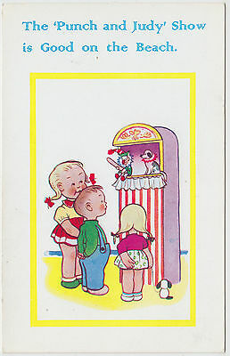 THE PUNCH & JUDY SHOW IS GOOD ON THE BEACH - UK Seaside postcard - c1950s era