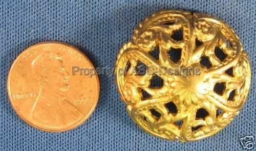 6pc Raw Brass Ornate Filigree Bead Cap Finding 5234