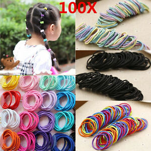 100pcs Clear White Hair Tie Band Ponytail Holder Elastic Rubber Women Chic