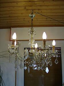 Wunderschoener-Kronleuchter-LUSTER-VINTAGE-5-flammig-Blei-Kristall-Glas