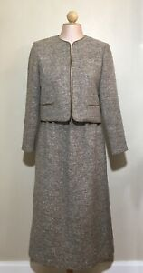 Vintage-Lanz-Originals-Womens-Sz-10-Skirt-Suit-Tan-Tweed-Career-Mid-Calf-Pockets