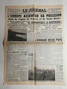N358-La-Une-Du-Journal-Le-journal-16-juin-1940-l-039-ennemi-a-son-tu-sa-pression