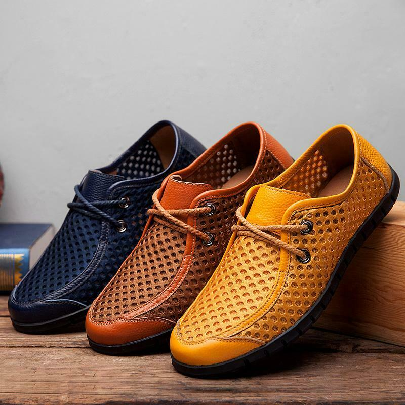 728b49747 Retro Mens Lace Up Houllow Out Breathable Casual shoes Driving Moccasin  Loafers