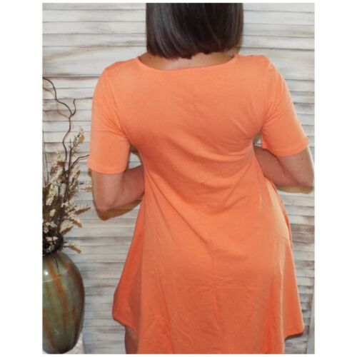 A-Line Short Sleeve Flare Cotton Dress With Side Pockets Coral S//M//L//XL
