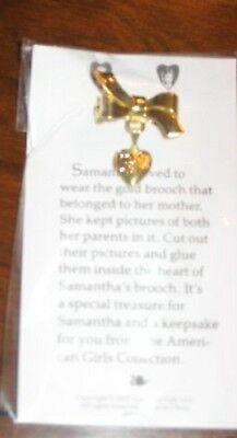 American Girl Samantha's Meet Brooch Authentic NIP Gold Retired