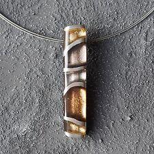Neu 40cm+5cm EDELSTAHL COLLIER CAPIZ MUSCHEL Farbe metallics/braun HALSKETTE