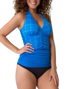 2eb66af392ca6 SPANX 2627 Ruched Halter Tankini Top in Electric Blue Geo New $96 | eBay