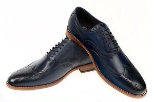 Stacy-Adams-Men-039-s-Dunbar-Wingtip-Oxford-Shoes-Size-9-Indigo-Blue