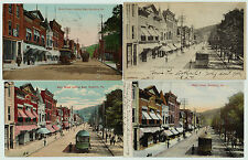 Electric Trolley Railroad - Orig Postcard LOT of 9 - Bradford PA 1905 RR Streets