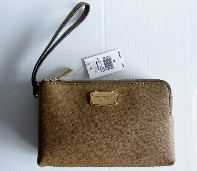 722919bb7b0c Michael Kors 38T8XTTC7L Jet Set Item Large Double Gusset WRISTLET- DARK  KHAKI