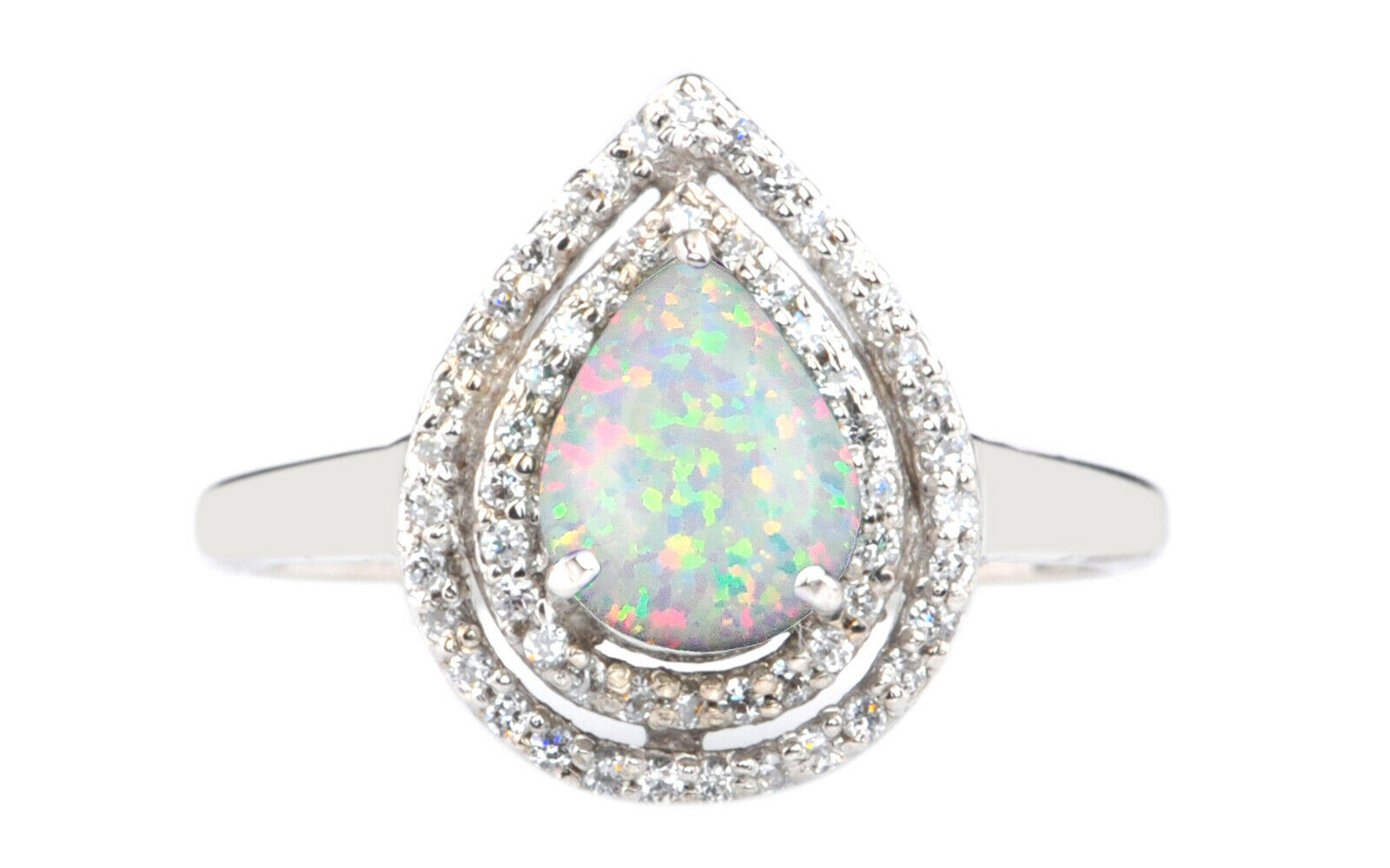 1.70 Carat Solid 14KT White gold Natural Opal EGL Certified Diamond Ring