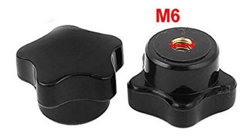1Pc Black Plastic Female Thread Star Shaped Head Clamping Nuts Knob M6 M10