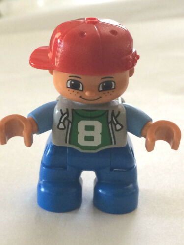 """*NEW* Lego DUPLO BOY BLUE Legs GRAY Top /""""8/"""" RED Cap MED BLUE Arms"""