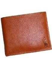 Polo Ralph Lauren Genuine Leather Men's Passcase Bifold Wallet -Cut Up in Cognac