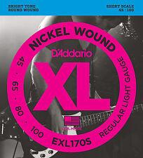D'ADDARIO EXL170S NICKEL BASS STRINGS - SHORT SCALE, REG/LT. GAUGE 4's - 45-100