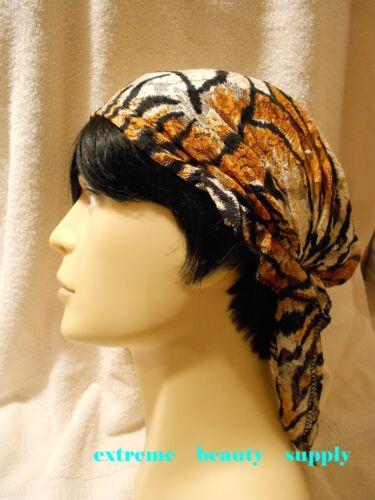 man boy tiger animal print Lace Cancer Scarf Chemo Alopecia Turban Head Wrap cap
