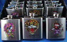 WHOLESALE LOT OF 12 ED HARDY FLASKS SKULL TIGER HEART Christian Audigier tattoo