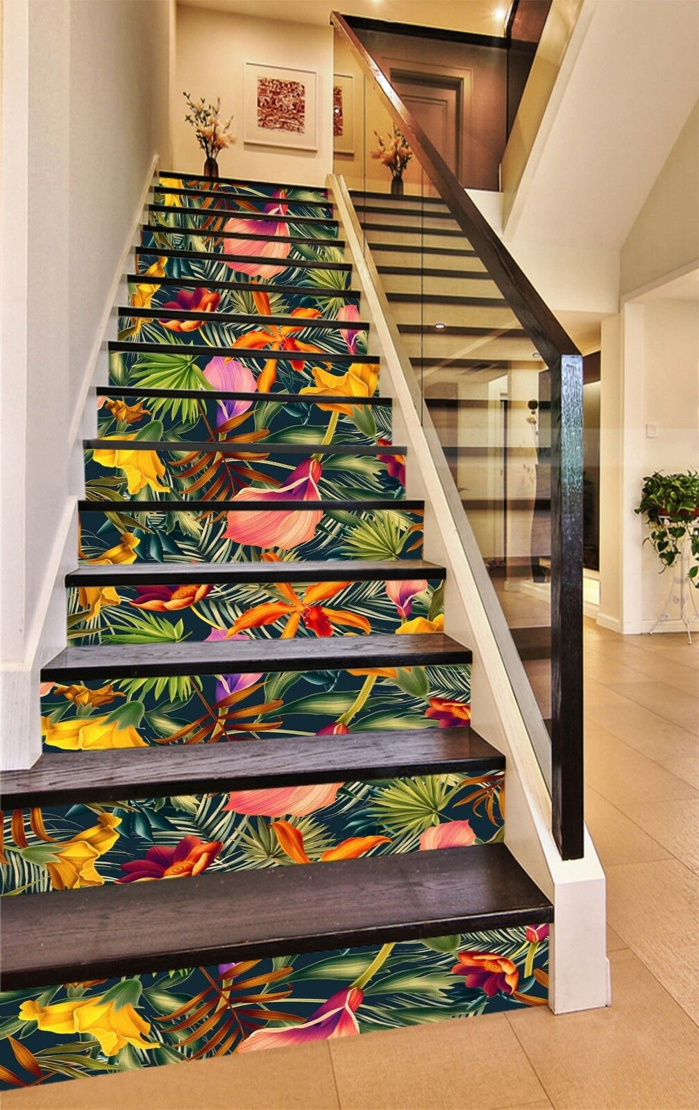 3D Flower leaf 7 Stair Risers Decoration Photo Mural Vinyl Decal Wallpaper UK