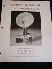Vintage LEICA CAMERA BROCHURE Confidential Franchise Dealers Price List c1950