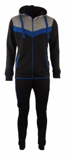 Mens Contrast V Panel Full Zip Fleece Tracksuit Top Bottom Jogging Running Gym