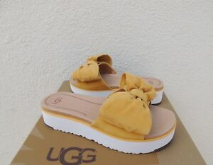 2636216852d Image is loading UGG-JOAN-SUNFLOWER-SUEDE-BOW-PLATFORM-SLIDE-SANDALS-