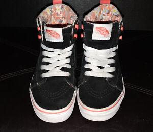 Vans Black Flower Lining High Top Black Sk8 Shoes Kids Size 1.5  0e28187b4723
