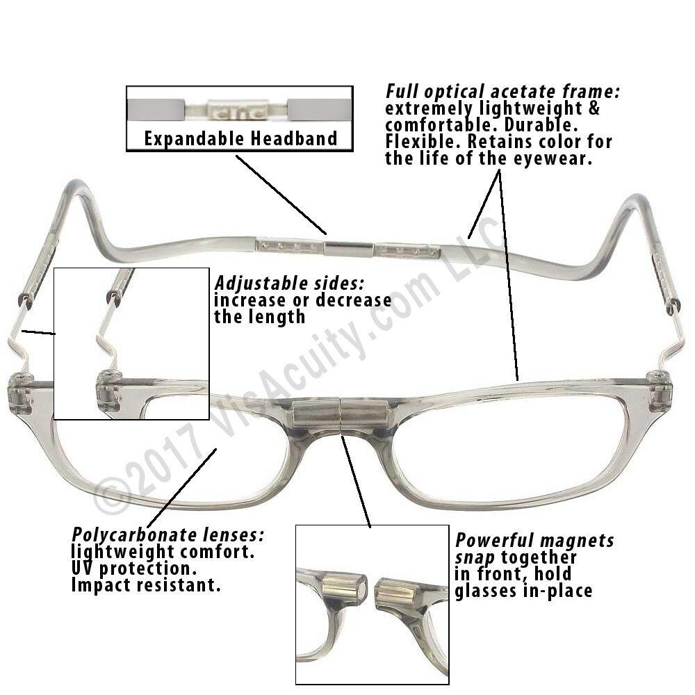 3e449ba2493d CliC Magnetic Closure Reading Glasses XXL With Adjustable Headband ...