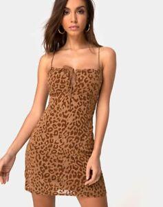 MOTEL-ROCKS-Kumin-Dress-in-Animal-Flock-Tan-Brown-Size-2XS-XXS-mr78