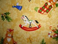 Christmas Stocking Fabric, Cotton Fabric, Gingerbread Angels, Cats, Candy Canes