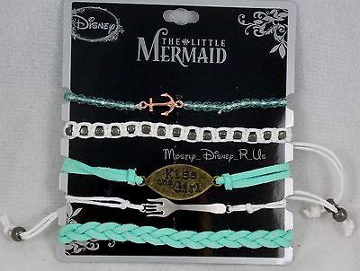 Disney Ariel The Little Mermaid Kiss the Girl Bracelet 5 Pack Charms Beads Braid