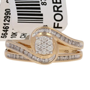 NEW-25ctw-Round-Cut-Diamond-Engagement-Ring-amp-Wedding-Band-10k-Gold-Bypass